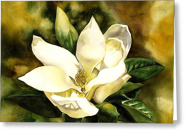 Watercolour Greeting Cards - Southern Magnolia Greeting Card by Alfred Ng