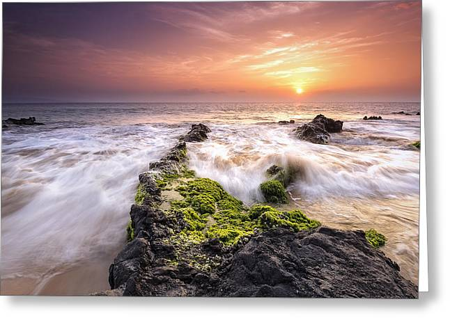 Spectacular Greeting Cards - Southern Maui Sunset Greeting Card by Hawaii  Fine Art Photography