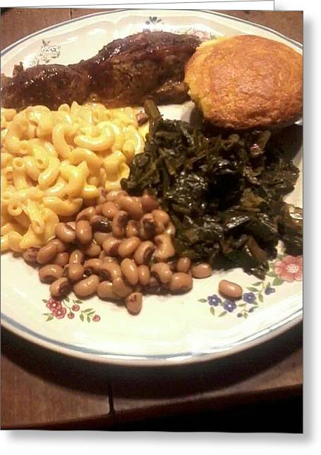 Collard Greens Greeting Cards - Southern Meal Greeting Card by Erica  Darknell
