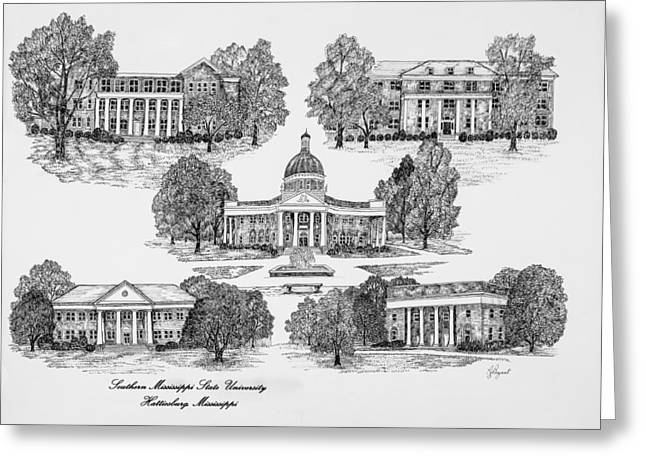Bryant Greeting Cards - Southern Mississippi State University Greeting Card by Jessica  Bryant