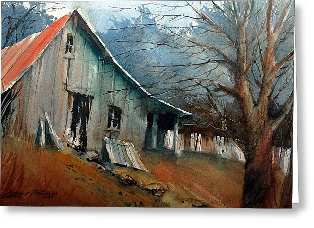 Shed Paintings Greeting Cards - Southern Ohio Farm Yard Greeting Card by Charles Rowland