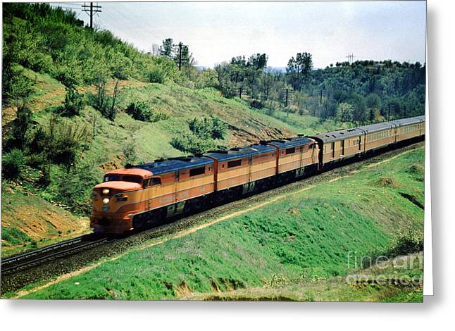 Alco Locomotives Greeting Cards - Southern Pacific ALCO PA-1 Diesel Locomotive Greeting Card by Wernher Krutein