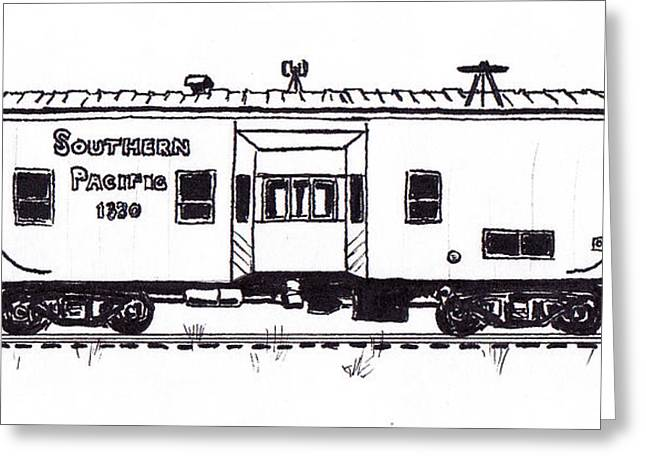 Caboose Drawings Greeting Cards - Southern Pacific Bay Window Caboose Greeting Card by Craig Bass
