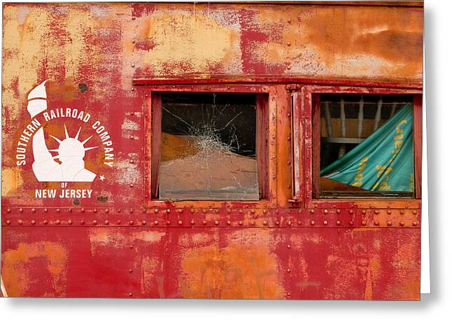 Old Caboose Greeting Cards - Southern Railroad Company of New Jersey Greeting Card by Kristia Adams
