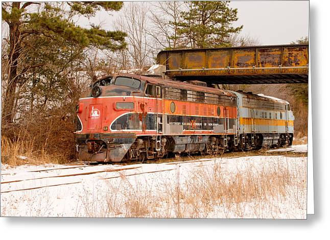 Railyard Greeting Cards - Southern Railroad of New Jersey Locomotive Greeting Card by Kristia Adams