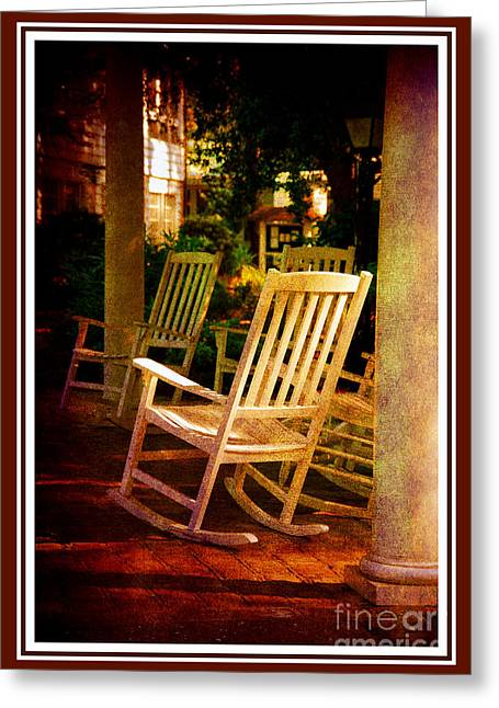 Rocking Chairs Greeting Cards - Southern Sunday Afternoon Greeting Card by Susanne Van Hulst