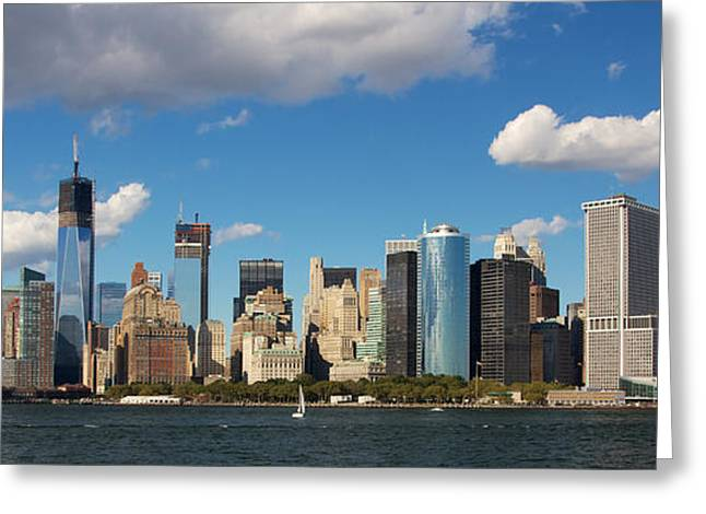 Facades Pyrography Greeting Cards - Southern Tip of Manhattan Skyline Greeting Card by Jannis Werner