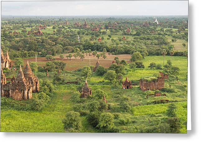 Buddhist Region Greeting Cards - Southern View Of Stupas Seen From Top Greeting Card by Panoramic Images
