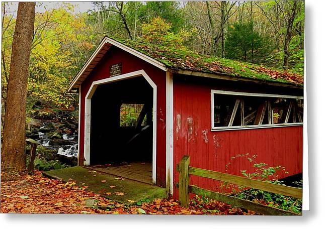 Southford Falls Covered Bridge And Waterfall Greeting Card by Stephen Melcher