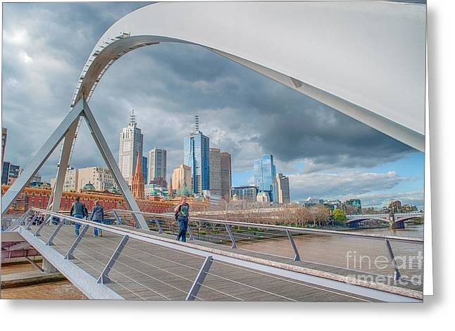 Melbourne Photographs Greeting Cards - Southgate Bridge Greeting Card by Ray Warren