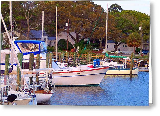 Sailboats In Harbor Digital Art Greeting Cards - Southport Watercolor Greeting Card by Garland Johnson