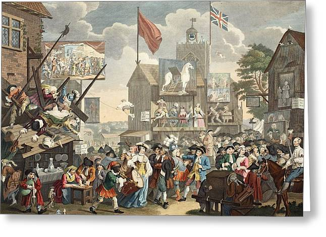 Gathering Drawings Greeting Cards - Southwark Fair, 1733, Illustration Greeting Card by William Hogarth