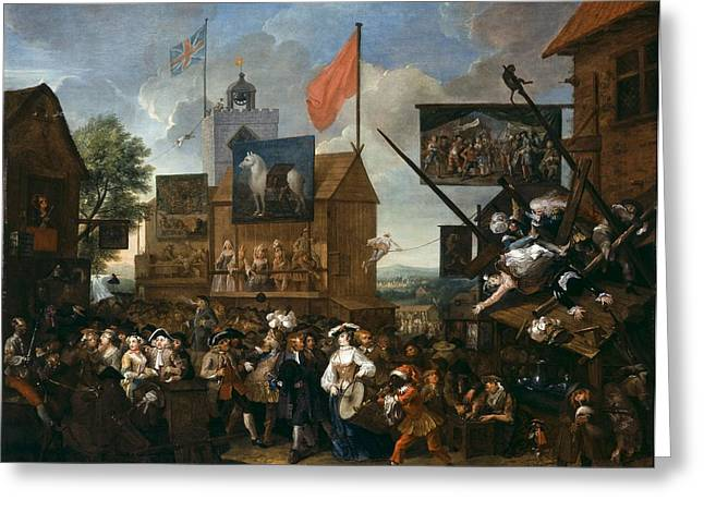 Chaotic Greeting Cards - Southwark Fair, 1733 Oil On Canvas Greeting Card by William Hogarth