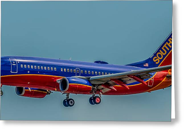 Paint Photograph Greeting Cards - Southwest 737 landing Greeting Card by Paul Freidlund