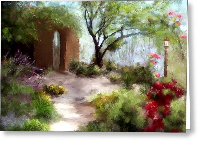 Adobe Mixed Media Greeting Cards - The Meditative Garden Greeting Card by Colleen Taylor