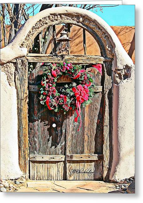 Southwest Gate Print Greeting Cards - Southwest Christmas Gate Greeting Card by Barbara Chichester