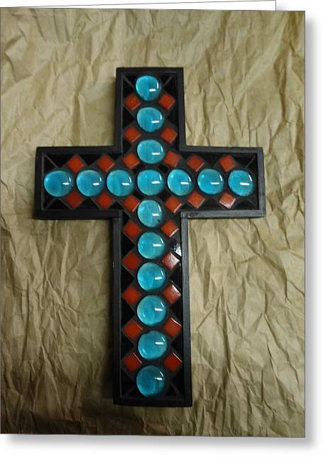 Southwest Glass Art Greeting Cards - Southwest Cross Greeting Card by Fabiola Rodriguez