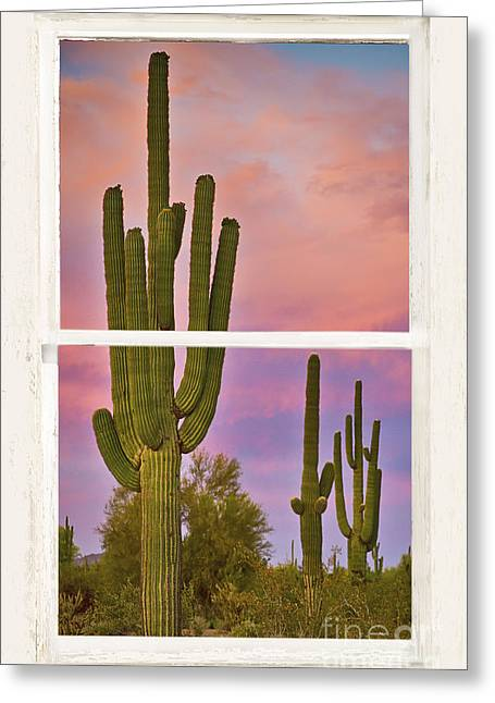 Window Frame Greeting Cards - Southwest Desert Colorful Distressed Window Art View Greeting Card by James BO  Insogna