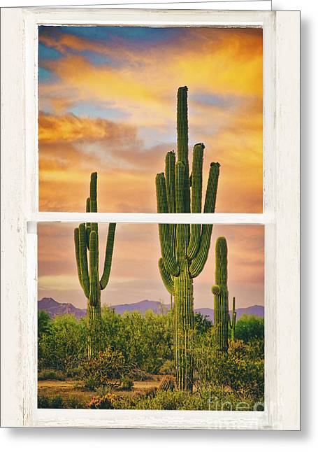 Window Frame Greeting Cards - Southwest Desert Sunset White Rustic Distressed Window Art Greeting Card by James BO  Insogna