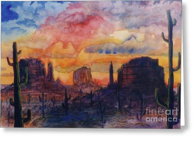 Bobcat Mixed Media Greeting Cards - Southwest Greeting Card by Don Hand