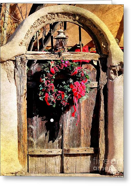 Las Cruces New Mexico Digital Art Greeting Cards - Southwest Gate Wreath Greeting Card by Barbara Chichester