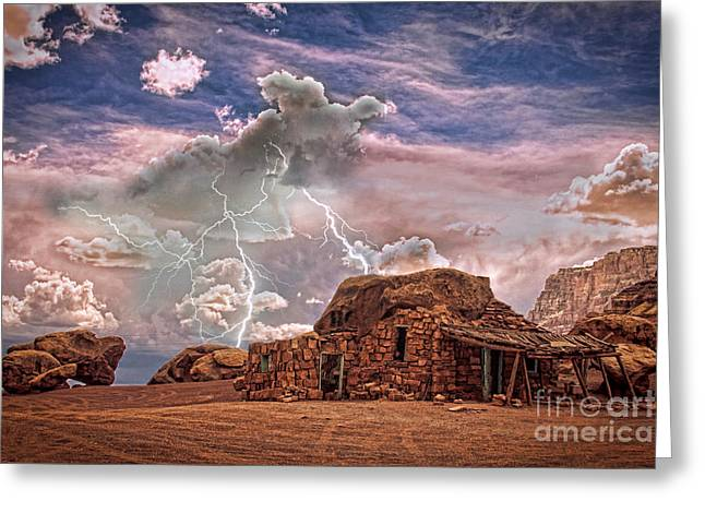 Storm Prints Photographs Greeting Cards - Southwest Navajo Rock House and Lightning Strikes HDR Greeting Card by James BO  Insogna