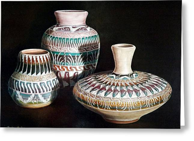 Becker Greeting Cards - Southwest Pottery Greeting Card by Linda Becker