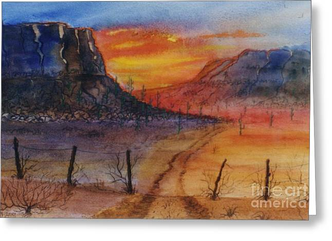 Barbed Wire Fences Mixed Media Greeting Cards - Southwest Sunrise Greeting Card by Don Hand