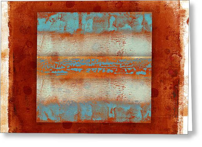 Monoprint Greeting Cards - Southwest Sunset 2 Greeting Card by Carol Leigh