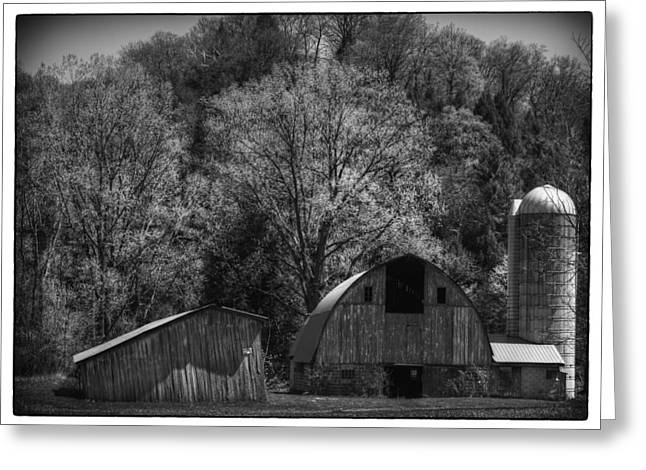 Wisconsin Barn Greeting Cards - Southwest Wisconsin Barn Black and White Greeting Card by Thomas Young