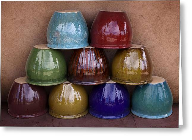 Ceramic Greeting Cards - Southwestern Ceramic Pots Greeting Card by Carol Leigh