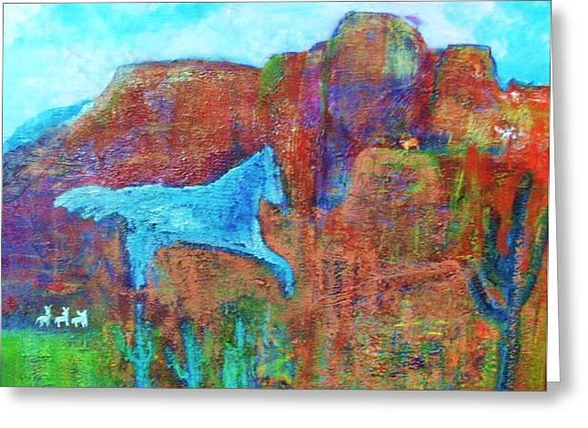 Southwestern Dreamscape  Greeting Card by Anne-Elizabeth Whiteway