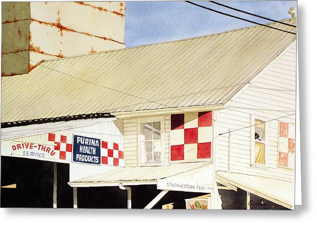 Feed Mill Paintings Greeting Cards - Southwestern Feed Greeting Card by Jim Gerkin