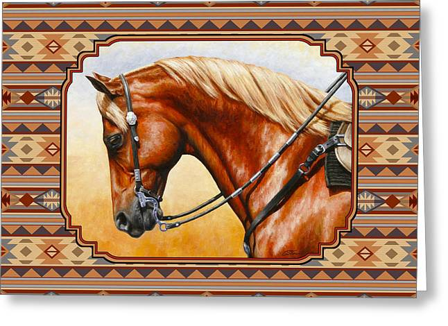Quarter Horses Paintings Greeting Cards - Southwestern Quarter Horse Pillow Greeting Card by Crista Forest