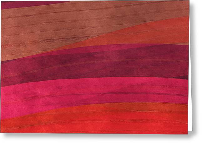 Southwestern Sunset Abstract Greeting Card by Bonnie Bruno