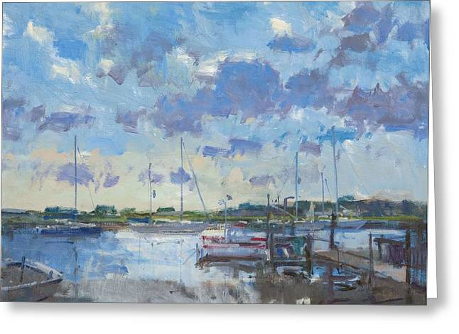 Sailing Boat Greeting Cards - Southwold Evening, 2012 Oil On Canvas Greeting Card by Christopher Glanville