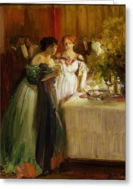 Evening Dress Greeting Cards - Souvenir Dun Soir Oil On Canvas Greeting Card by Joseph Marius Avy