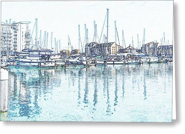 Sovereign Greeting Cards - Soveriegn Harbor in pencil Greeting Card by Sharon Lisa Clarke