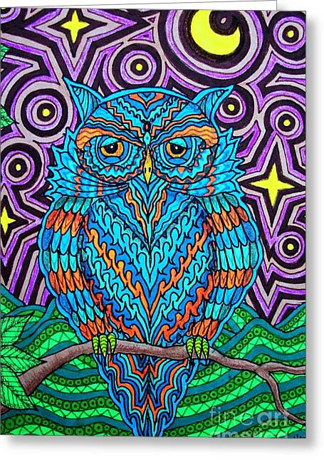 Psychedelic Owl Greeting Cards - Mr. Owl  Greeting Card by Baruska A Michalcikova