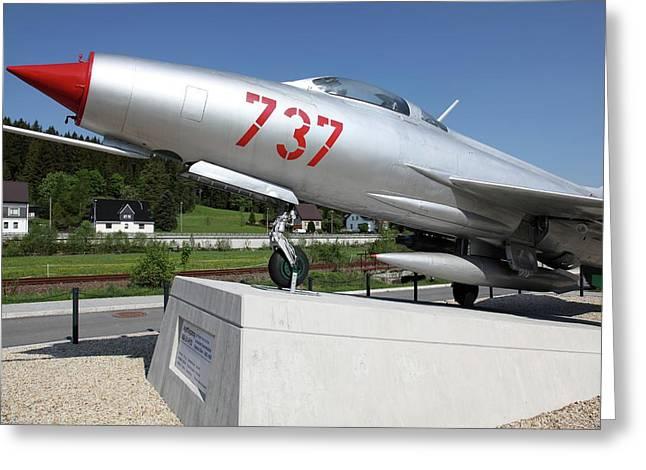 Soviet Mig-21 Greeting Card by Detlev Van Ravenswaay