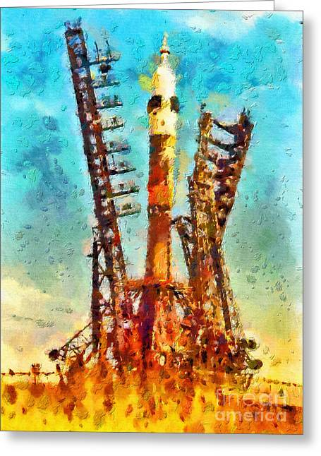 Outer Space Paintings Greeting Cards - Soviet spacecraft Vostok Greeting Card by Magomed Magomedagaev