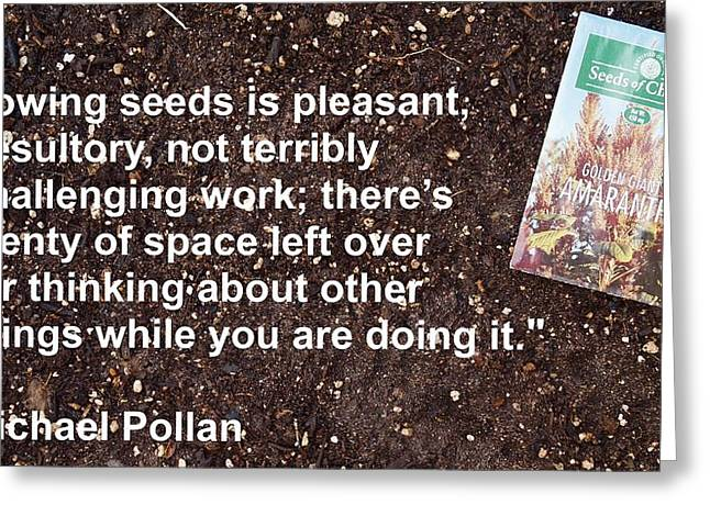 Local Food Greeting Cards - Sowing Seeds Greeting Card by Jon Simmons