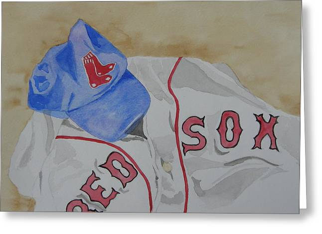 Baseball Paintings Greeting Cards - Sox Greeting Card by Don Hurley