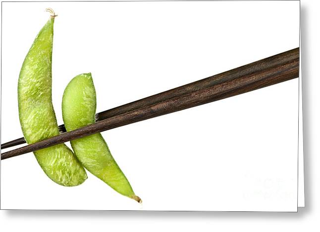 Organic Photographs Greeting Cards - Soy beans with chopsticks Greeting Card by Elena Elisseeva