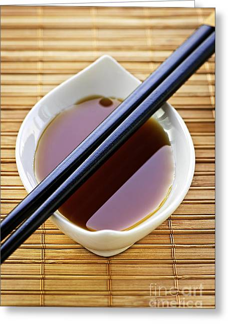 Mat Greeting Cards - Soy sauce with chopsticks Greeting Card by Elena Elisseeva