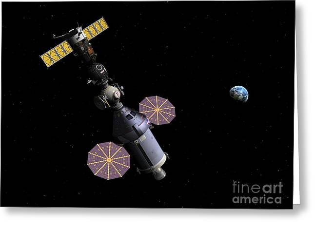 Travel Agency Greeting Cards - Soyuz And Orion Spacecraft, Artwork Greeting Card by Walter Myers