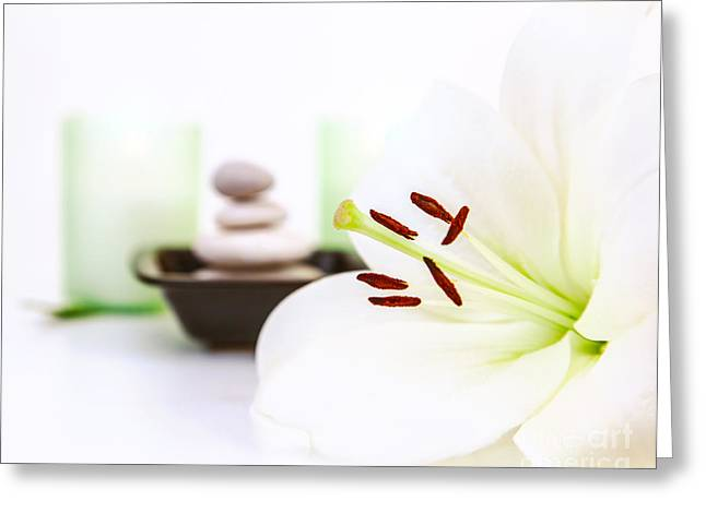 Day Lilly Greeting Cards - Spa and meditation Greeting Card by Anna Omelchenko
