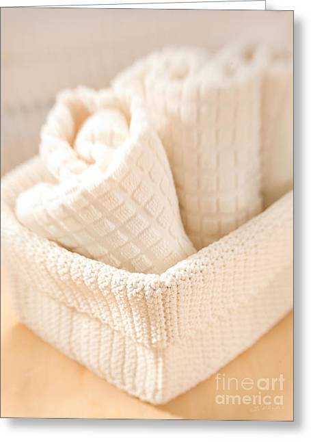 Therapy Greeting Cards - Spa Baket with Towels Greeting Card by Iris Richardson