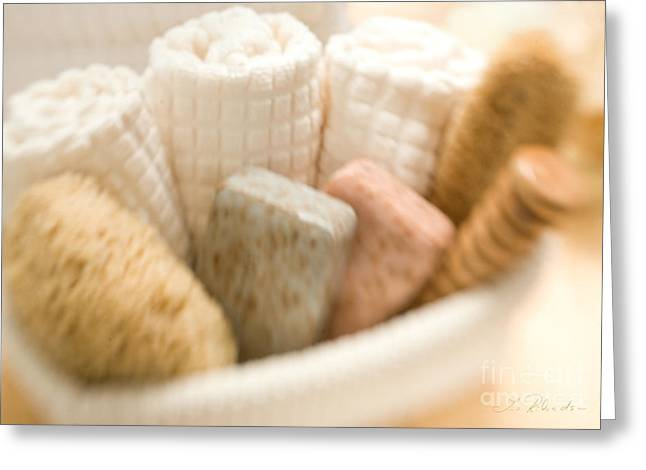 Therapy Greeting Cards - Spa Basket with Soaps Greeting Card by Iris Richardson
