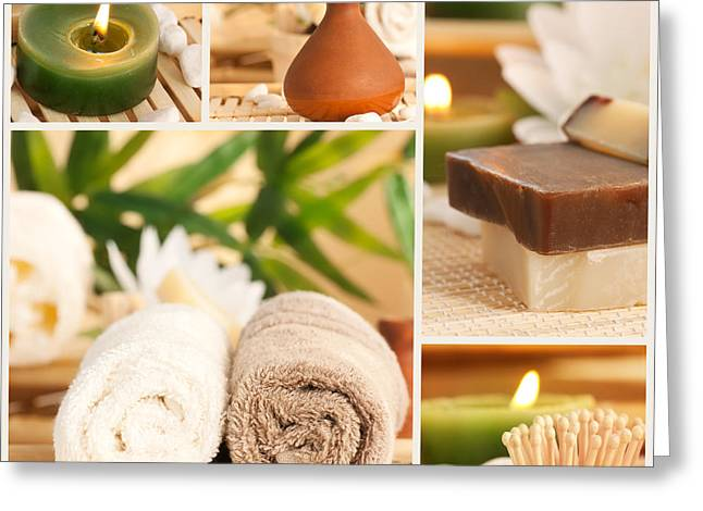 Treatment Greeting Cards - Spa collage Greeting Card by Mythja  Photography